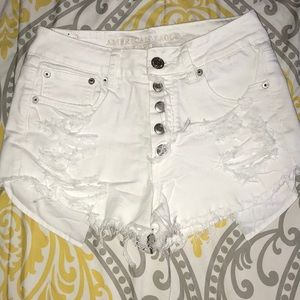AE white hi-rise festival button up shorts
